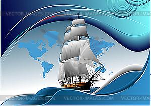 Poster mit altem Segelschiff - Vektor-Abbildung