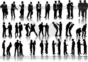 Vierzig Silhouetten der Geschäftsleute - Stock Vektor-Clipart