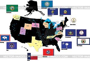 Flaggen von US-Staaten - vektorisiertes Design