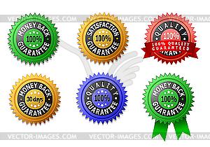 Etiketten für Zufriedenheit, Qualität und Geld-zurück-Garantie - Vektor-Clipart EPS