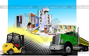 Baustelle mit Lastwagen und Auflader  - Clipart