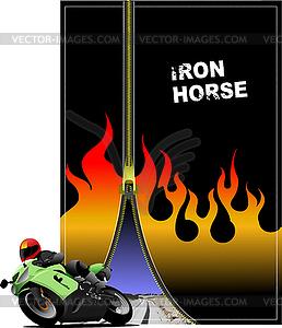Poster mit Reißverschluss und Motorrad - Vector-Design