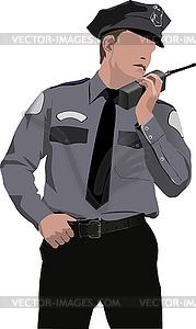 Polizist sagt am Rundfunk - Vektorgrafik-Design