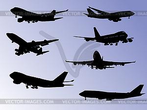 Flugzeug-Silhouetten - Vektorabbildung