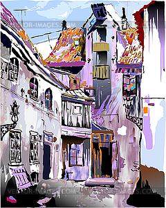 Mittelalterliche europäische Altstadt - Vektor-Bild