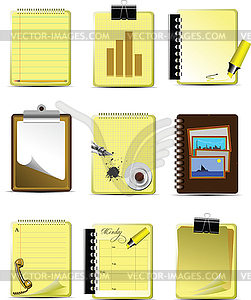 Neun Büro- und Business-Icons - Stock-Clipart