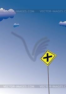 Überqueren Sie Verkehrsschild. Verkehr Verkehrsschild Symbol - vektorisiertes Clip-Art
