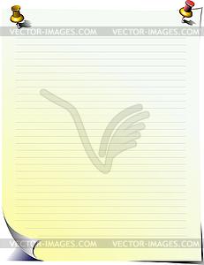 Seite für Notizen mit Push-Pins - Stock Vektorgrafik