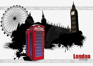 Londoner Grunge-Poster mit roter Telefonzelle - Vektor Clip Art