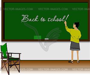 Linkshänder-Mädchen im Klassenzimmer. Zurück zu Shule - Vektorgrafik