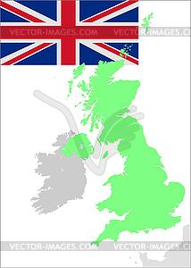 Großbritannien Flagge und Karte - Royalty-Free Vektor-Clipart