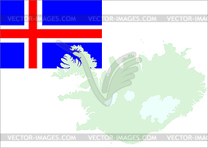 Island-Karte und Flagge - Stock Vektor-Clipart