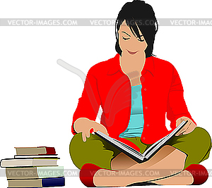Woman reading book - vector clipart