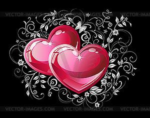 Paar rote Herzen - Vektor-Abbildung