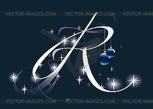 Weihnachtsbuchstabe R - Vektor-Abbildung