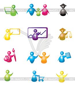 Set von Icons mit Menschen - Vector-Clipart / Vektorgrafik