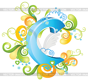 Decorative letter C - vector image