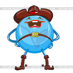Lustiger blauer Cowboy Ball Cartoon - vektorisiertes Clip-Art