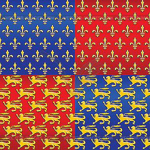 Heraldische nahtlose Hintergründe - Vector-Abbildung