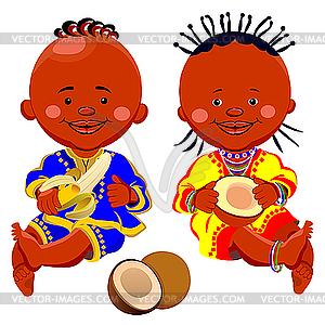 Afrikanische Kinder mit Kokos und Bananen - Vektor-Bild