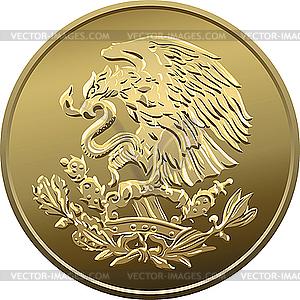 Mexikanische Münze mit nationalem Emblem - Vektor-Skizze