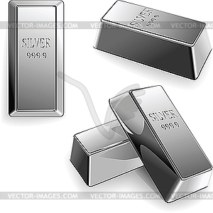 Set of silver bars - vector clip art