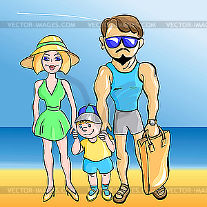 Junges Ehepaar mit einem Kleinkind am Meer - Royalty-Free Vektor-Clipart
