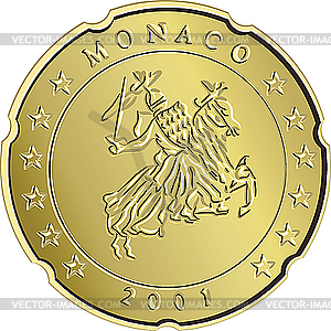 Eurocent-Münze Monaco - vektorisierte Abbildung