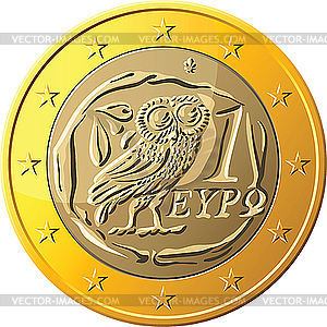 Greek coin one euro featuring owl - vector image