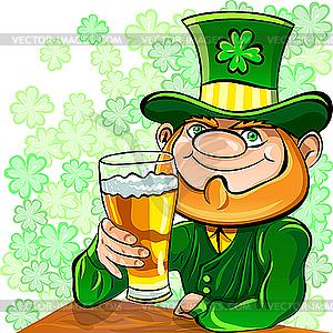 Leprechaun trinkt Bier - farbige Vektorgrafik