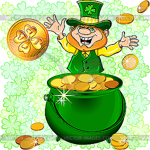 Leprechaun mit Topf voll Gold - Stock Vektor-Clipart