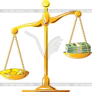 Unsymmetrische Gold Waage mit Münzen und Banknoten - Vektorgrafik