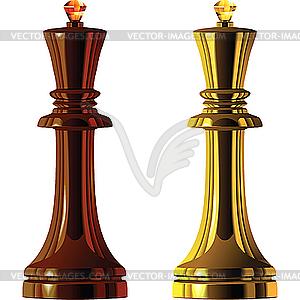 Schachfiguren, schwarze und weiße Könige - vektorisierte Grafik