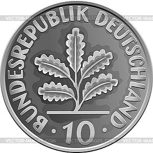 Deutschland Geld Silbermünze mit Eichenlaub - Vector-Clipart EPS