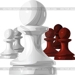 Schachfiguren - schwarze und weiße Bauer - farbige Vektorgrafik
