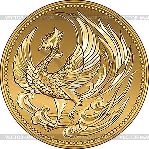 Japanische Geld Goldmünze mit phoenix - Vektorgrafik-Design