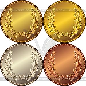 Reihe von Münzen mit Lorbeerkranz - Royalty-Free Vektor-Clipart