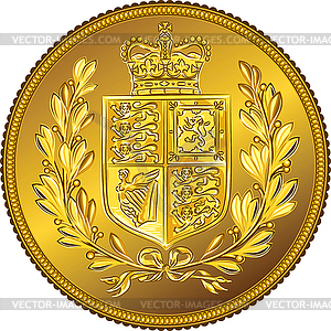 Britischen Sovereign Münze mit Wappen - Vektor-Clipart