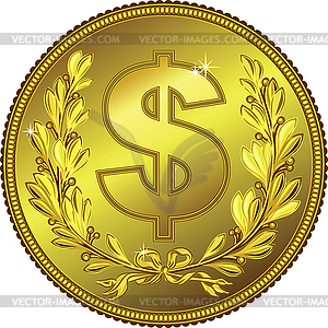 Gold Geld-Dollar-Münze - Vector-Illustration