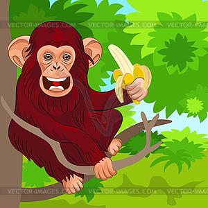 Glücklich Affe Schimpanse im Dschungel mit Bananen - Vector-Design