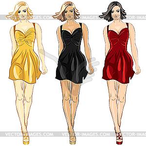 Девушки в платьях векторное