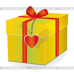 gelbe box mit rotem band vektor klipart. Black Bedroom Furniture Sets. Home Design Ideas