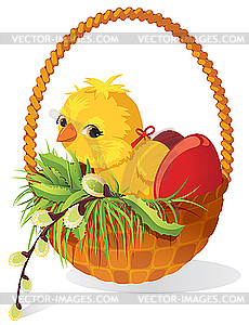 Küken und Eier im Korb - Vector-Illustration