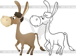 Spaßkarikatur Esel - Vektorgrafik-Design