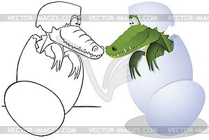 Crocodile und Eier - Stock Vektorgrafik
