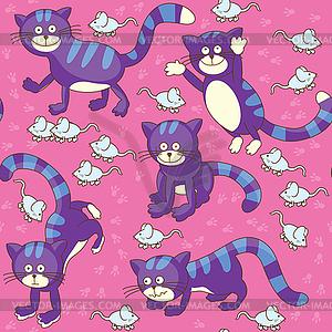 Смешные кошки и мышки бесшовный фон