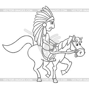 Американский индеец - рисунок в векторе