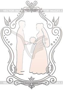 Silhouetten von Braut und Bräutigam im Rahmen - vektorisierte Grafik
