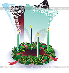 Adventskranz mit Kerzen - Stock Vektorgrafik