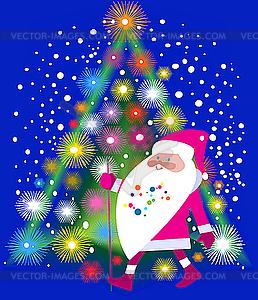 Santa Claus und Weihnachtsbaum - Vektorgrafik